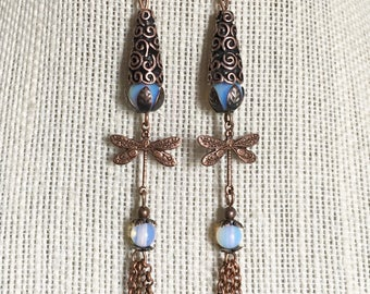 Gorgeous, antique copper, dragonfly, long, chain tassel earrings, unique, womens gift