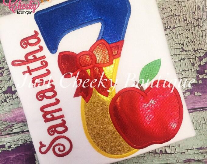 Snow White Embroidered Birthday Shirt - Disney Princess - 1st Disney Trip - Disney Vacation - Princess Birthday - Seven Dwarfs