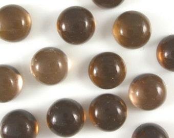 25 Pieces Lot Smoky Quartz Round Shape Loose Gemstone Cabochon