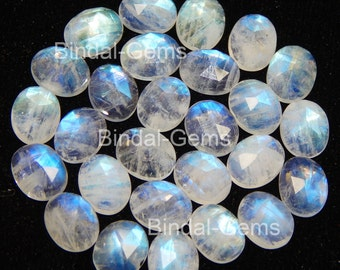10 Pieces Lot Rainbow Moonstone 8X10 MM Oval Rose Cut Calibrated Gemstone
