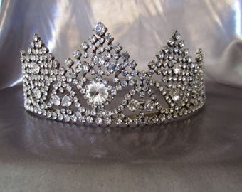 Vintage French Wedding Tiara, Crown in Rhinestones, Headdress Hair Tiara Crown Wedding Bridal