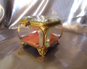 Antique French Jewelry Box, Beveled Glass Box, Wedding Ring Box