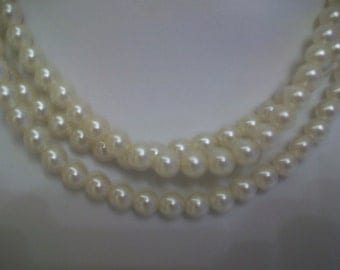 Three Strand Faux Pearl Necklace with Decorative Clasp