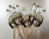 Photo cupcake toppers or drink stirrers with Over the hill birthday or New Years gold or silver confetti hat  . Any age can be made