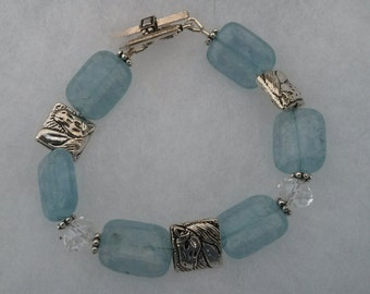 Beaded Horse Bracelet in light blue