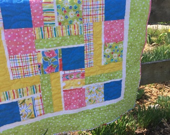 Homemade Quilts, Baby Quilts Handmade, Quilts for Sale, Baby Girl Quilt, Teen Quilt, Lap Quilt, Floral Quilt, Baby Girl Nursery, Baby Gift