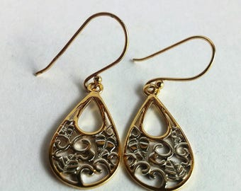 Sterling Silver & gold plated leaves Earrings Unique ~ Free shipping