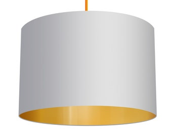 White, Linen Fabric, Drum Lampshade With Brushed Metallic Gold Effect Lining, Medium Drum Lampshade and Large Drum Lampshade