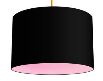 Black Linen Fabric Drum Lampshade With Contrasting Baby Pink Cotton Lining, Small Lampshade 20cm - Large Lampshade 40cm or Custom Size