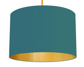 Teal Blue Linen Fabric Drum Lampshade With Brushed Metallic Gold Effect Lining, Small Lampshade 20cm - Large Lampshade 40cm or Custom Order