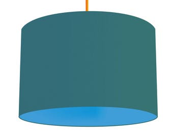 Teal Linen Fabric Drum Lampshade With Contrasting Alegria Blue Cotton Lining, Small Lampshade 20cm - Large Lampshade 40cm or Custom Size
