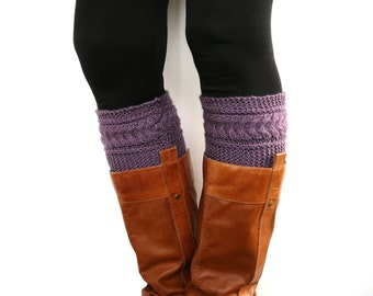 Violet boot socks, womens boot cuffs, boot toppers, leg warmers