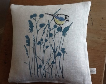 Hand printed, embroidered and appliqued Blue-tit with grasses
