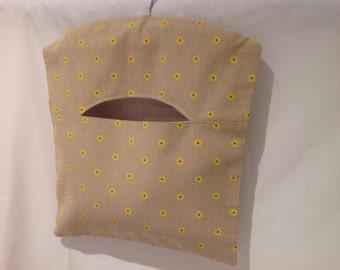 Pretty Linen Flower Peg Bag, Clothespin Bag, Laundry Bag