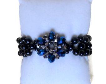 Black Jewelry  Bead woven Bracelets  Elastic Beaded  bracelet