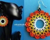 Mexican earrings, Huichol Earrings, Native american earrings, Flower Earrings, Mexican Jewelry, Mexican folk art, Beaded Flower, AF-0308