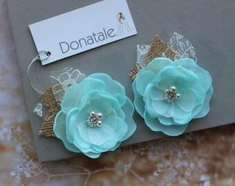 Burlap Mint Green Wedding Hair Piece Bridesmaid Hair Pins Blush Peach Pink Hair Flowers Bridal Headpiece Flower Girl Hair  Chiffon Flower