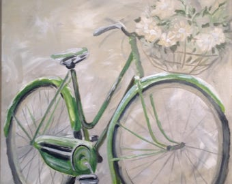 Bicycle, bicycle art, original painting, sports, riding, bikes,