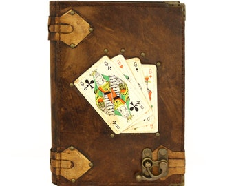Playing Cards Queen Brown Large Handmade Leather Journal Notebook Diary Sketchbook Book Paper