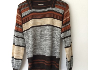 Boho Sweater Space Dye Sweater 70s 1970s striped dyed Brown Knit Medium Large