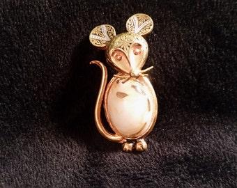 Vintage Goldtone Damascene  mouse brooch Made in Spain