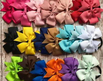 MANY COLORS- Adorable Bow hair ties- Ponytail elastic- For all ages! Toddler, Girls, Children, Womens