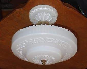Antique 1920-30s Glass Lightolier Candlewick Frosted Ceiling Light Fixture