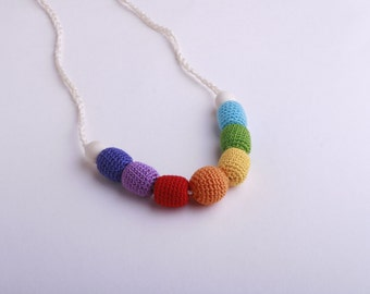 Rainbow Nursing Necklace -Wooden development toy- Baby Teething - Breast Feeding Necklace