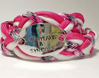 Paracord Medical Alert Bracelet, Wrap Around, MADE TO ORDER