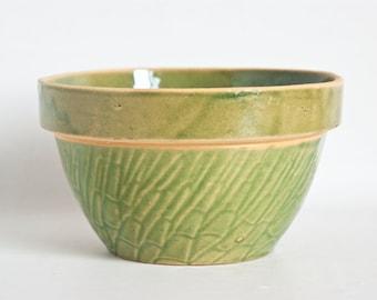 Vintage McCoy Asparagus Mixing Bowl, Antique Yellow Ware Stoneware Bamboo Shoulder Bowl Green Glaze, Rustic Farmhouse Kitchen, 7 1/8 inch