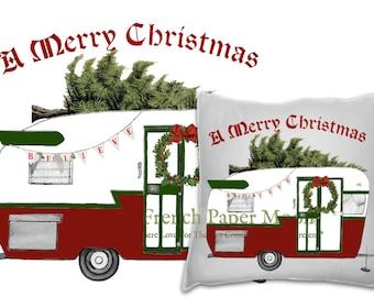 Vintage Christmas Trailer Camper, Retro Christmas Caravan Printable, Instant Download Christmas Pillow Image, Digital Xmas Pillow