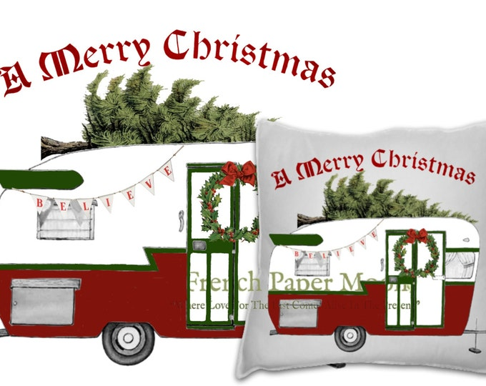 Vintage Christmas Trailer Camper, Retro Christmas Caravan Printable, Instant Download Christmas Pillow Image, Digital Xmas Pillow