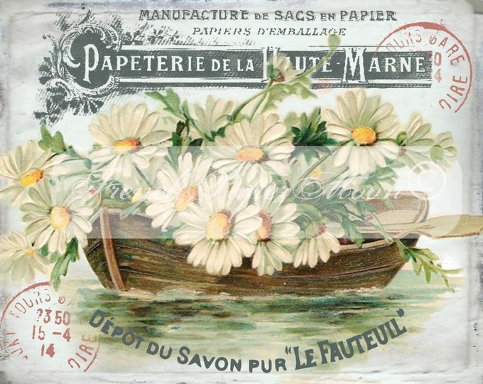 Vintage French Daisy Digital, Boat, Daisies, French Typography, Printable French Pillow Image, French Collage Sheet