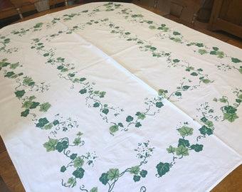 Printed Green Ivy Cotton Tablecloth, Green White Vines, Vintage Cottage Farmhouse Kitchen, 52 x 66 rectangle