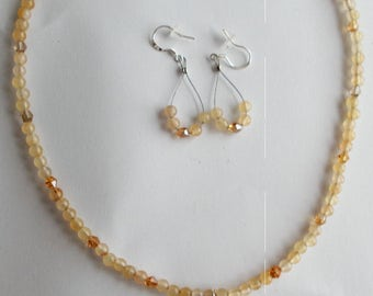 yellow calsite necklace crystal beads calsite gemstone beads and earrings tabetian silver clasp sterling earwires