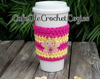 Crochet coffee cup cozy, with fairy girl applique , made with 100% cotton. Crochet coffee sleeve, crochet coffee cozie