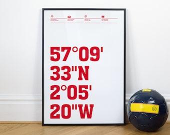 Aberdeen Football Stadium Coordinates Posters