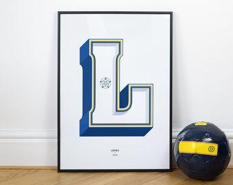 L is for Leeds United, Football Typography Print