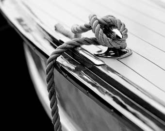 Nautical décor, Lake house decor, Black and white prints, Nautical art, Coastal art, Wooden boat, Boating decor // Chris Craft Rope & Cleat