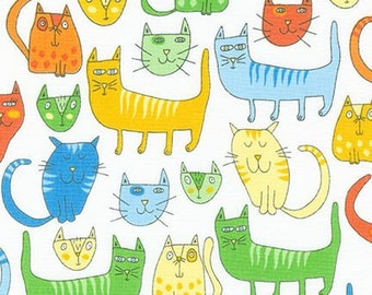 Multi Coloured Pastel Cats On White Background,100% Cotton By Robert Kaufman