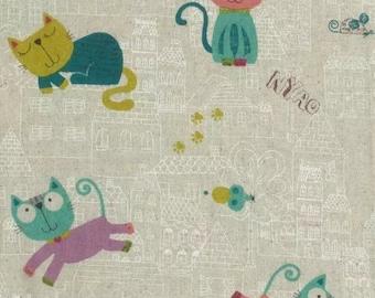 Multi Coloured Happy Cats On Cream Background,100% Cotton Linen Look Fabric