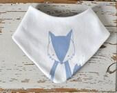 Baby Bib - Organic Cotton Jersey - White with light blue Fox Print - Drool Scarf - Baby Shower Gift - Teething Bandana - Cute Wood Animals