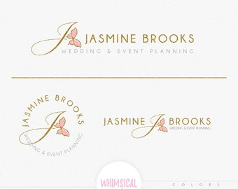 First Initials Butterfly- Feminine Watercolor Design Branding Package Inc. Photography - GOLD GLITTER letters script Watercolor Logo