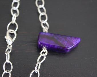 purple necklace, purple gemstone necklace, purple choker, purple stone necklace, chunky necklace, statement necklace, boho necklace, purple