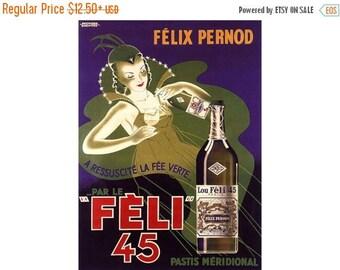 Absinthe Feli 45 La Fee Verte Green Fairy French Liquor Vintage Poster Print  Retro Style Advertising Art Free US Post Low Euro Post