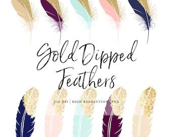 High Resolution Gold Foil Tip Clipart Feather Clipart Gold Dipped Feather Clip Art Beautiful PNG Gold Foil Tribal Glitter Mint Blush Navy