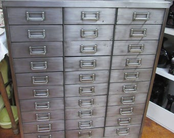 Industrial steel cabinet with 30 drawers mid century modern