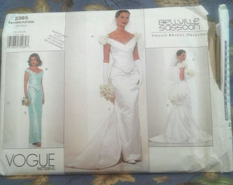 Vogue Bridal Original Pattern.   Wedding Top and Skirt Pattern.  Bellville Sassoon.  Advanced. Size 14-16-18.  Pattern No. 2385.