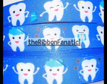 "5 yds 7/8"" Dental Awareness Hygiene Teeth Tooth Cleaning Toothpaste Grosgrain Ribbon"
