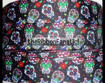 "5 yds 7/8"" Mini Sugar Skulls Day of the Dead  Grosgrain Ribbon"